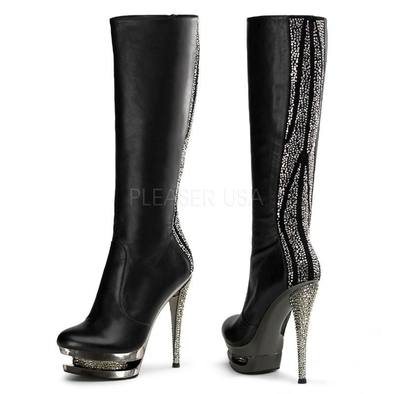 6 Inch Stiletto dual platform leather knee high boots with Rhinestone Embelishment