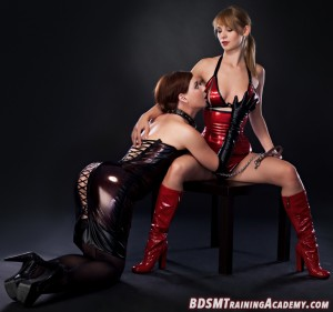 Kneeling Submissive Worshipping Her Dominatrix